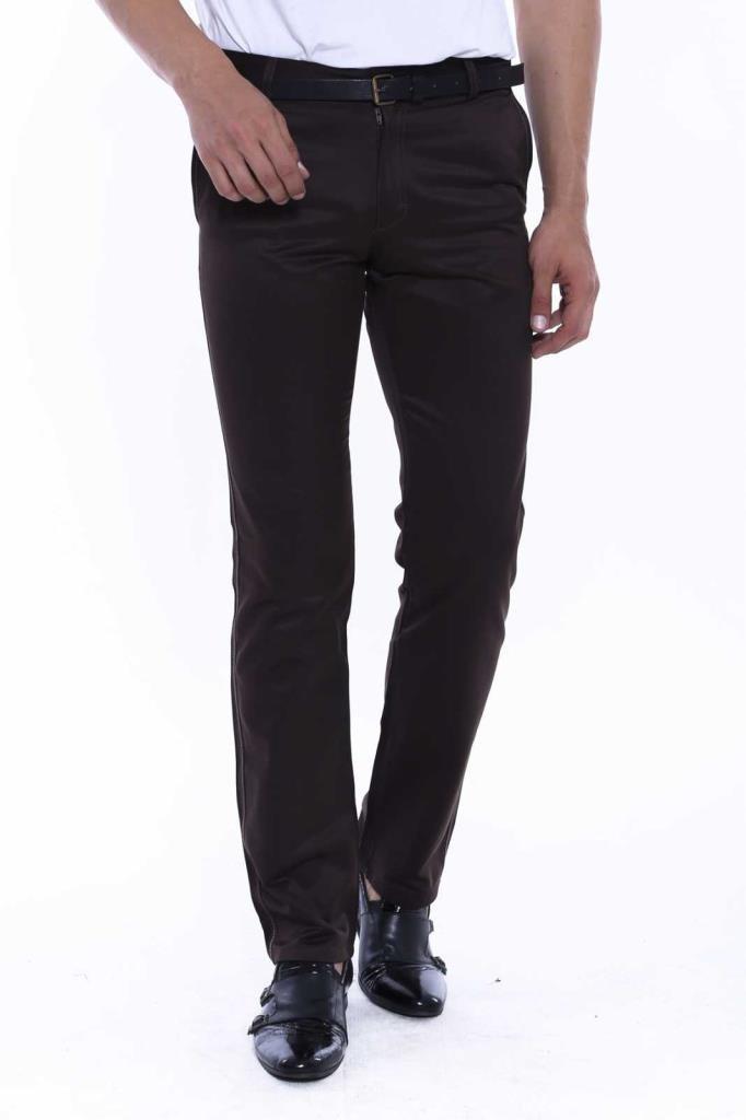 Men's Back Pocket Half-Pleated Dark Brown Pants