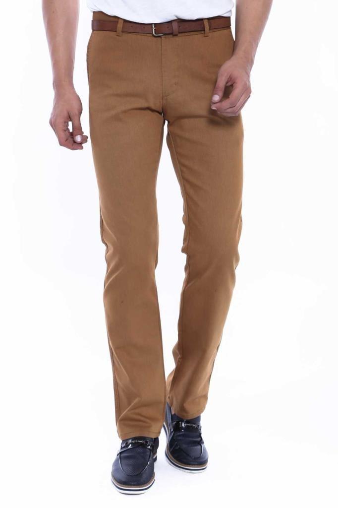 Men's Back Pocket Half-Pleated Brown Pants