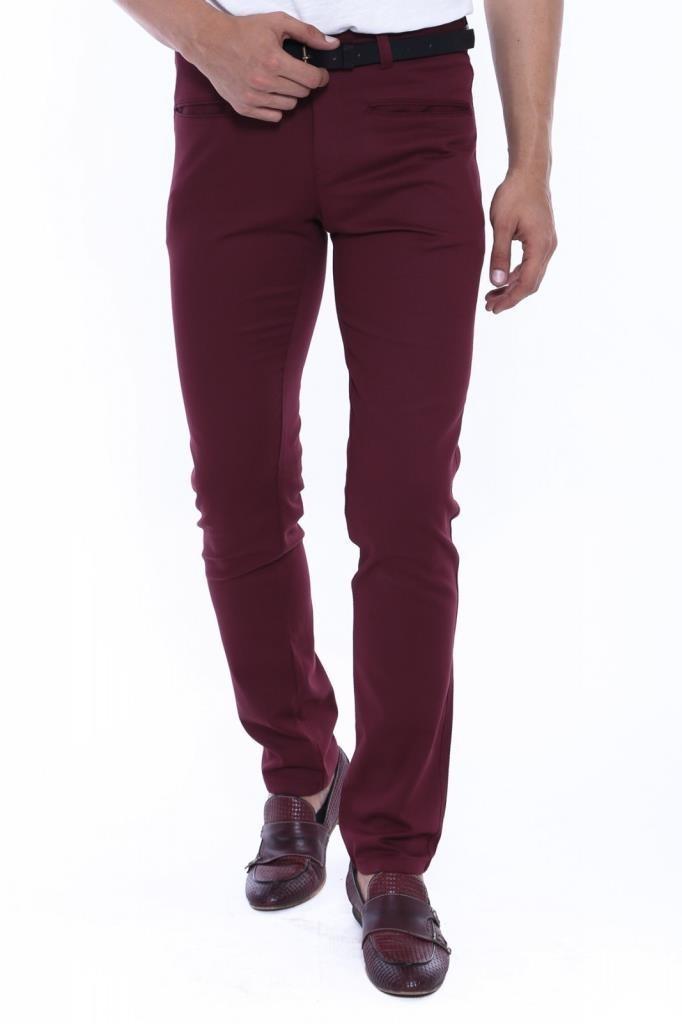 Men's Claret Red Cotton Pants