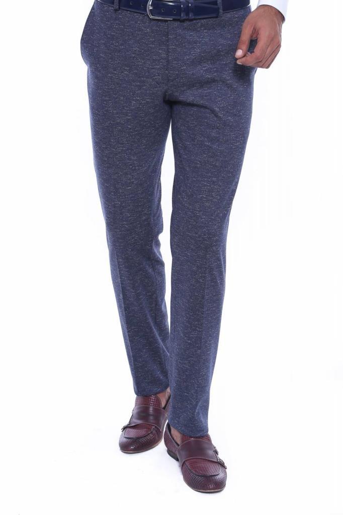 Men's Self-Patterned Navy Blue Fabric Pants