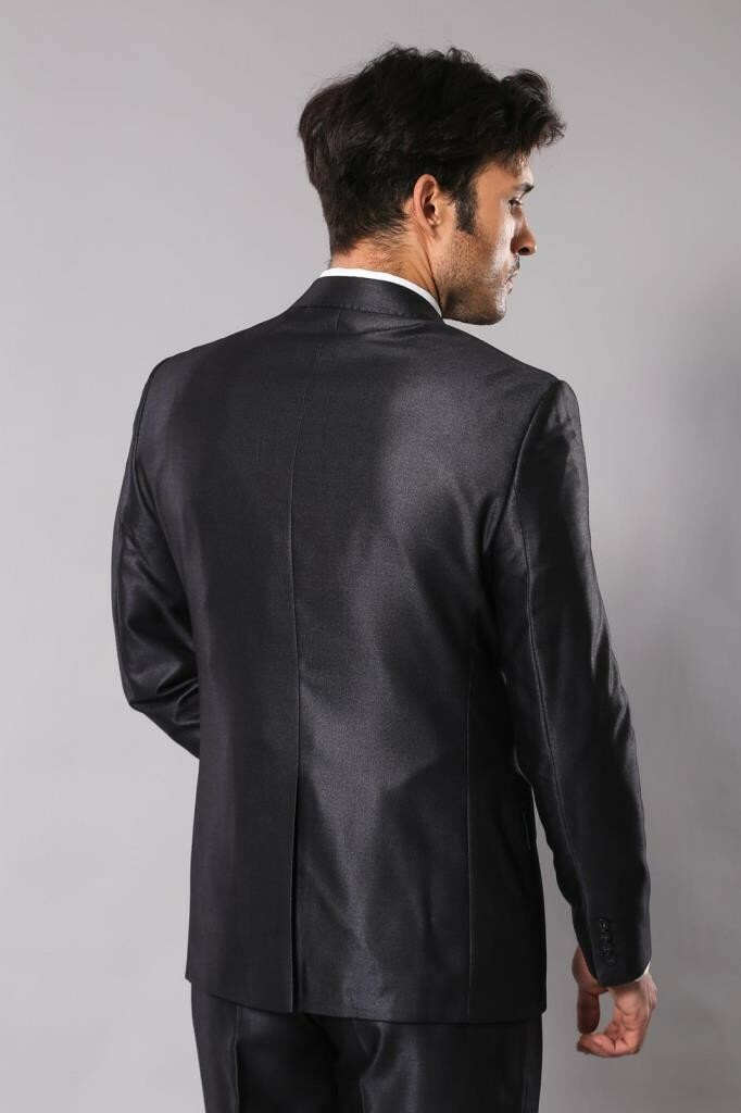 Men's Single Button Shiny Smoky Formal Suit Set