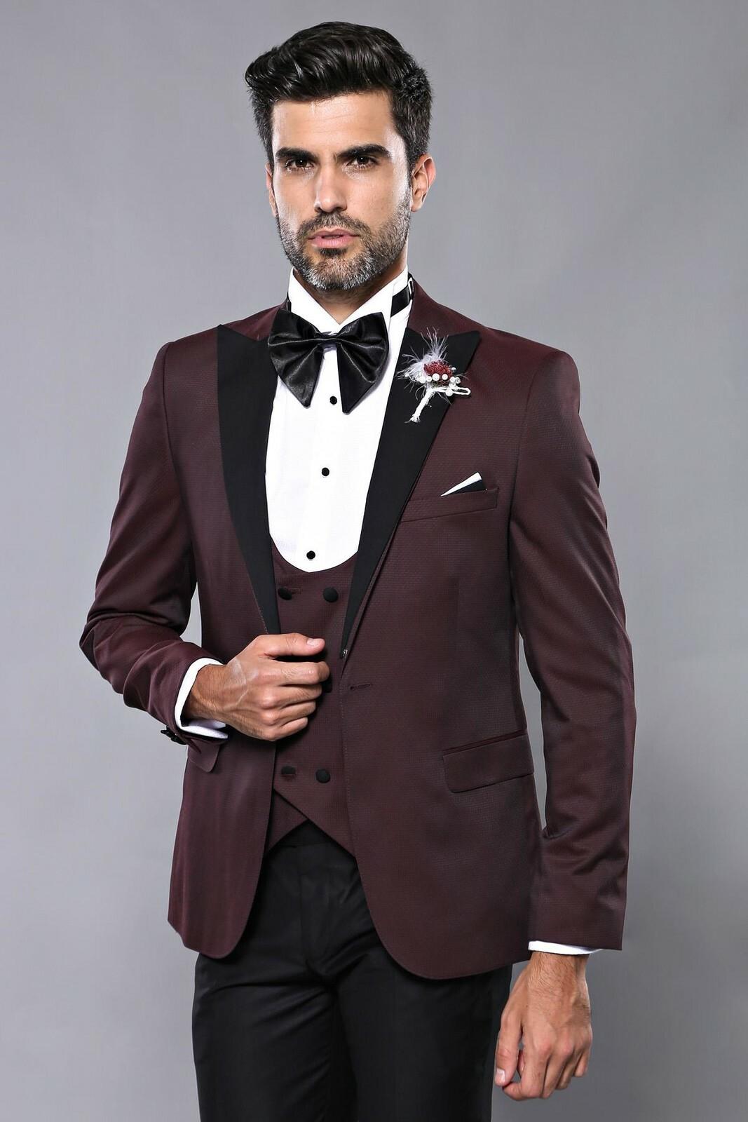 Men's Claret Red Groom Formal Suit Set