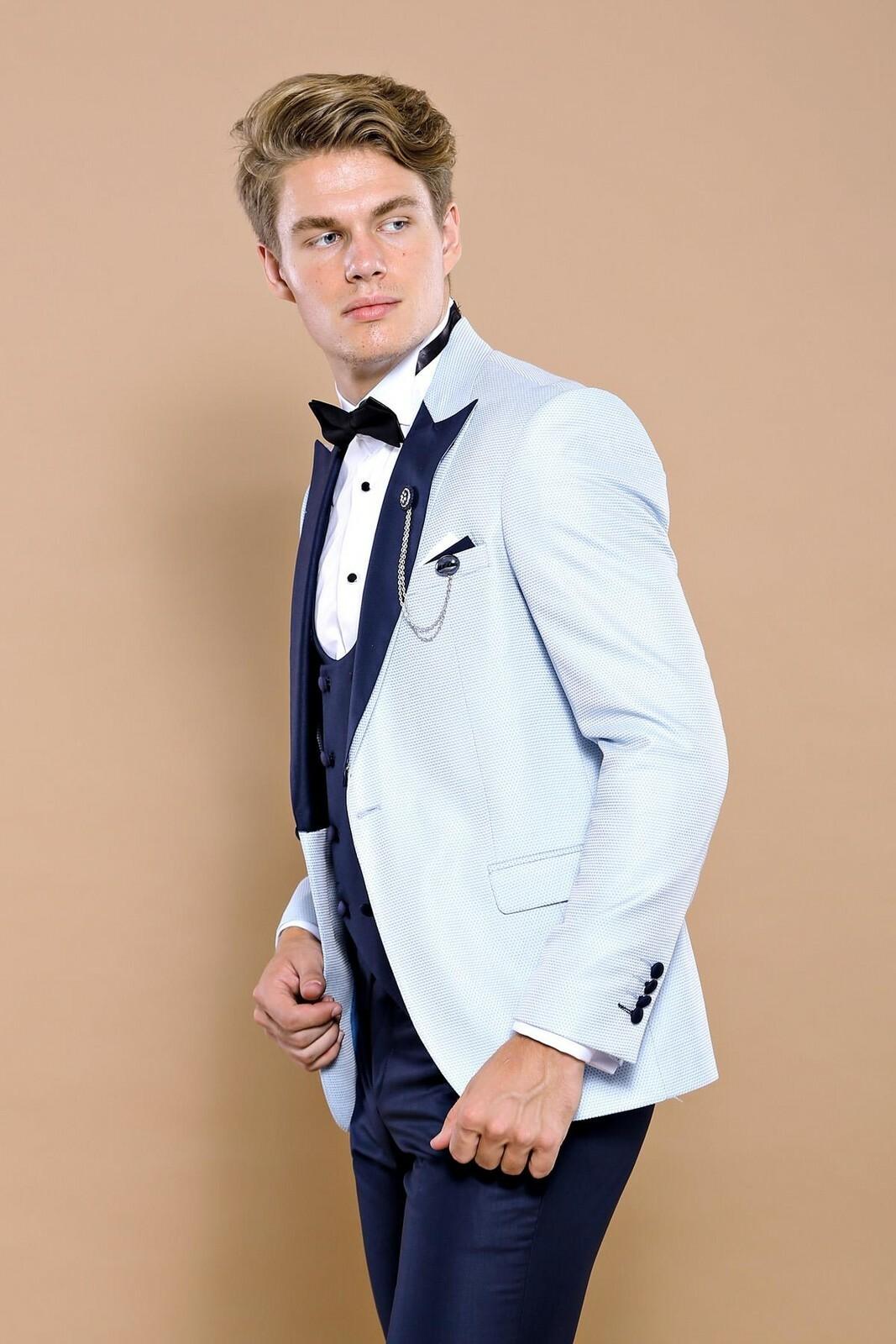 Men's Removable Surplice Neckline Baby Blue Formal Suit Set
