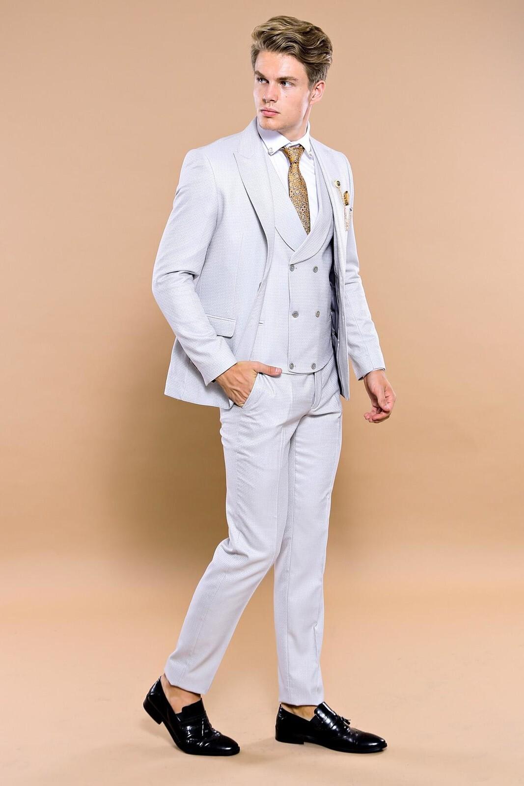 Patterned Light Grey Formal Suit Set