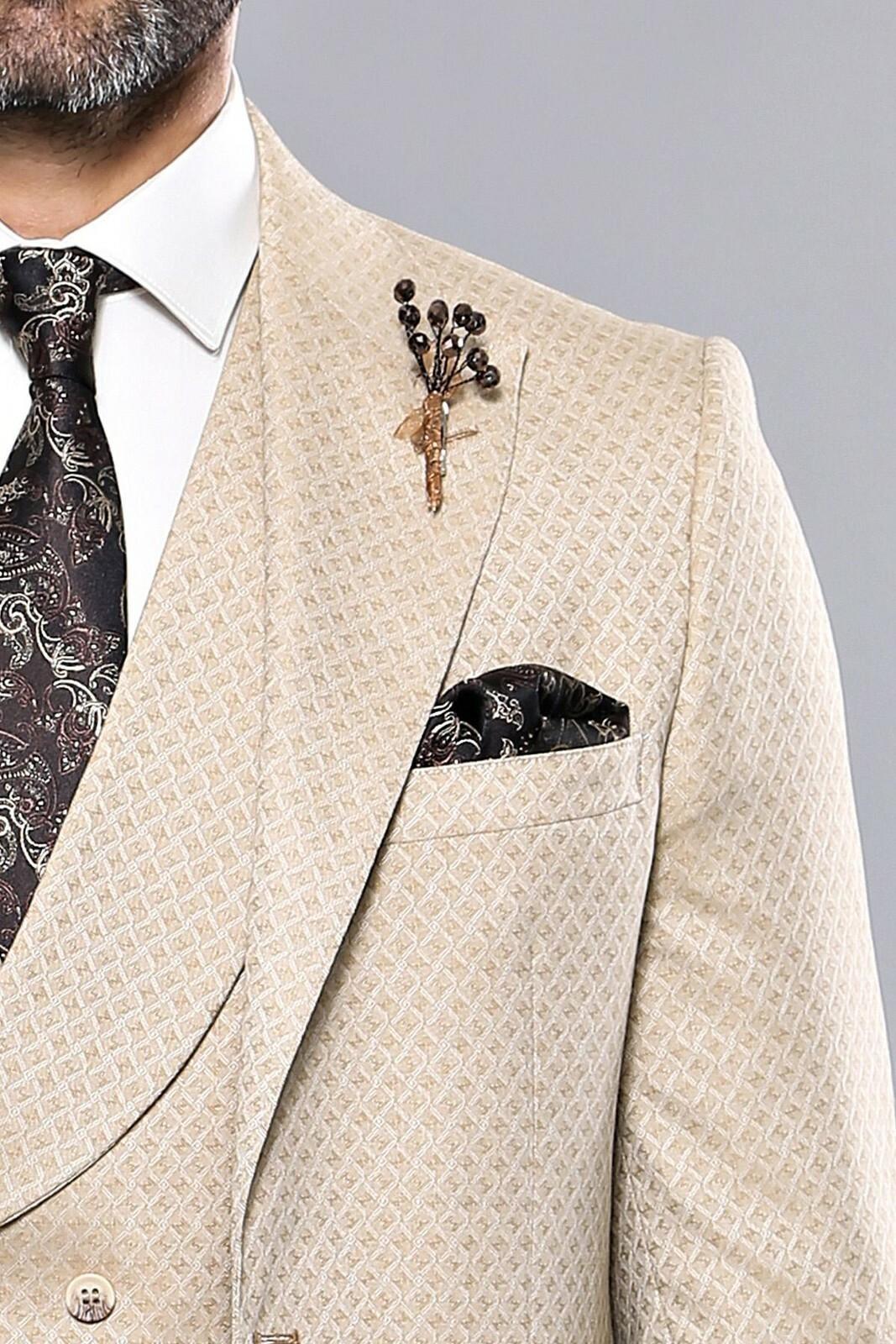 Men's Patterned Beige Formal Suit Set