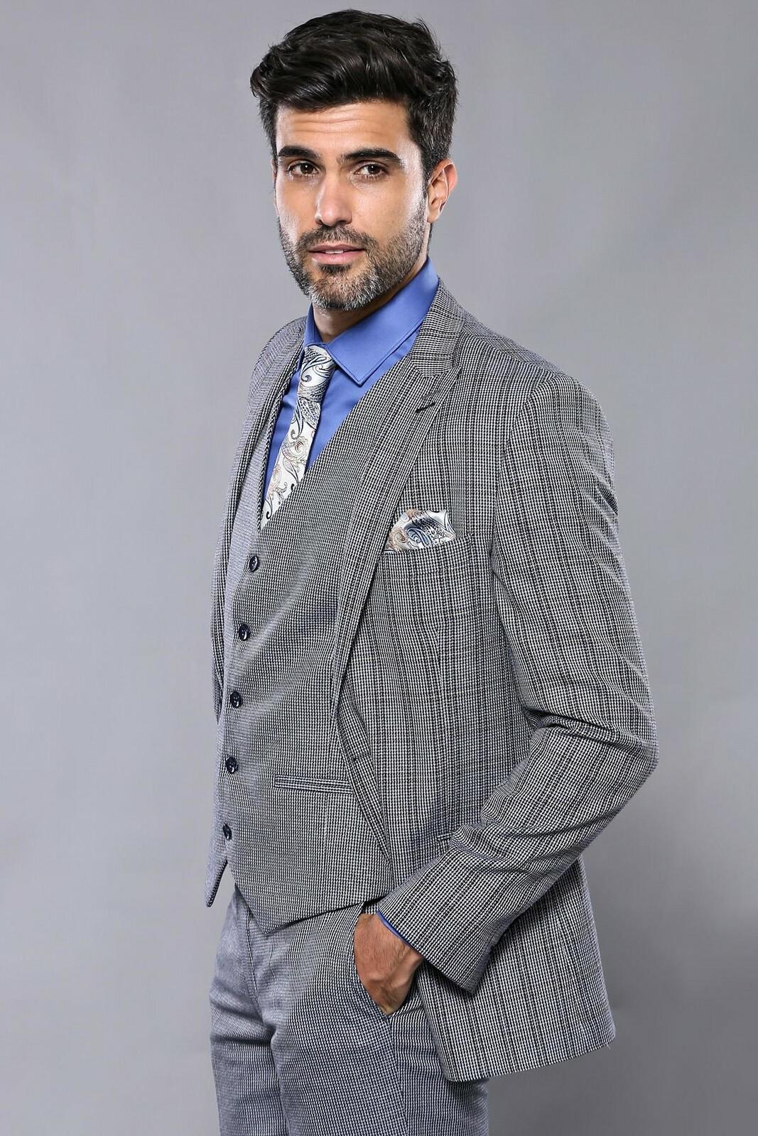 Men's Checkered Navy Blue Slim Fit Formal Suit Set