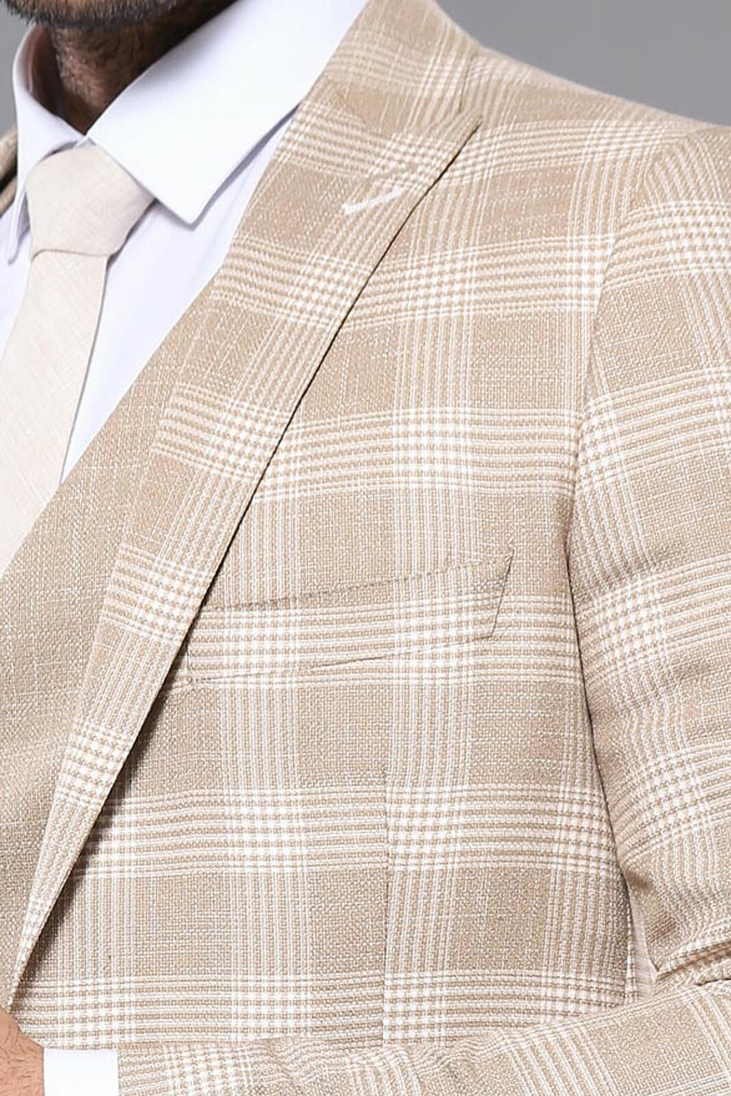 Men's Checkered Beige Formal Suit Set