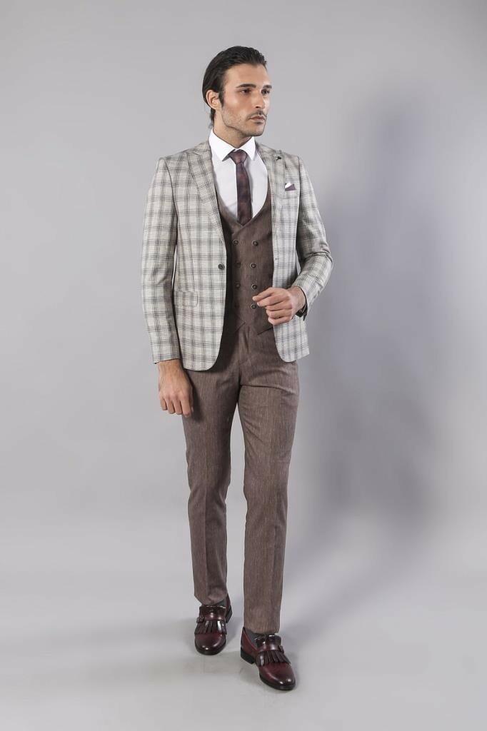 Men's Plaid Light Brown Formal Suit Set