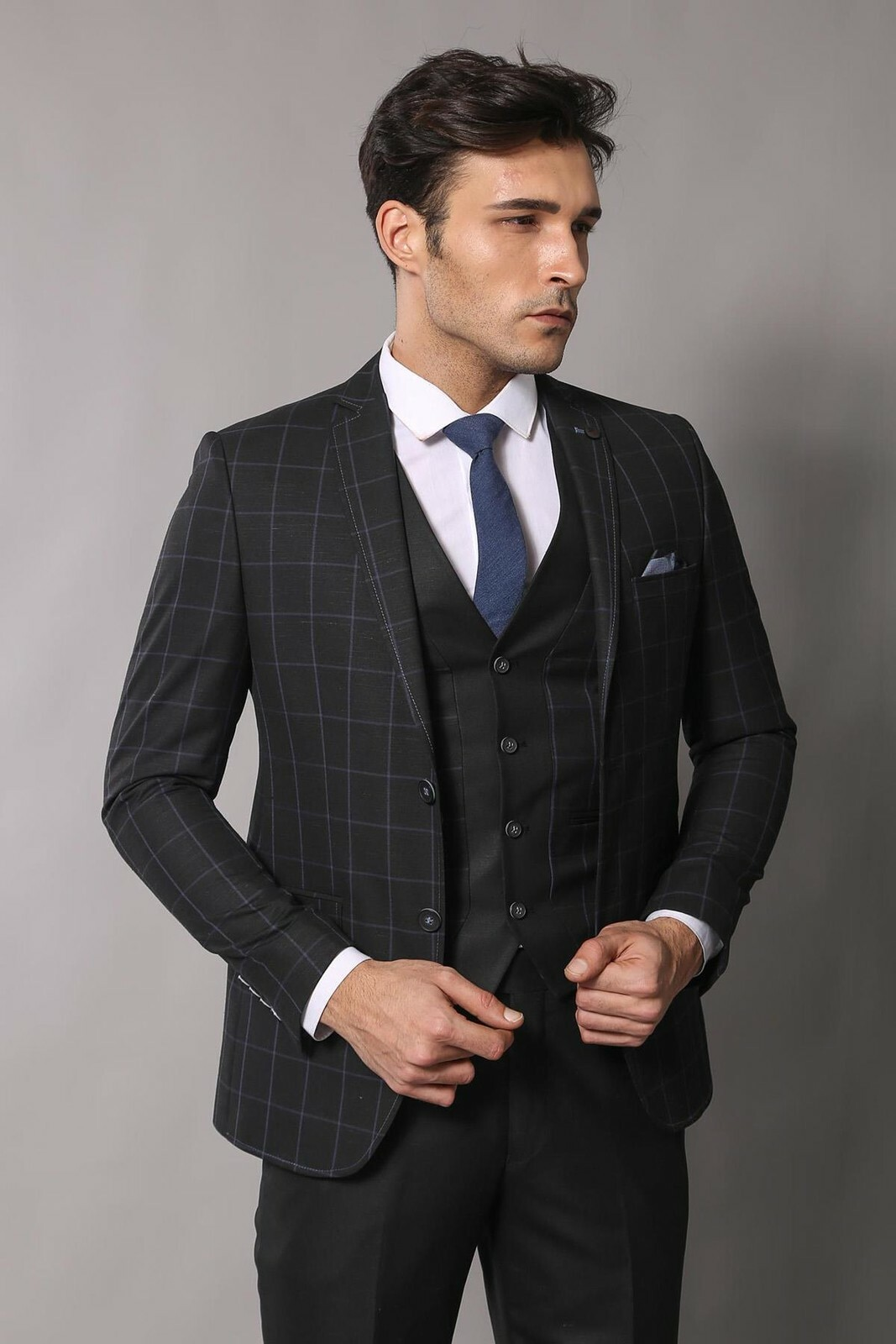 Men's Plaid Black Formal Suit Set