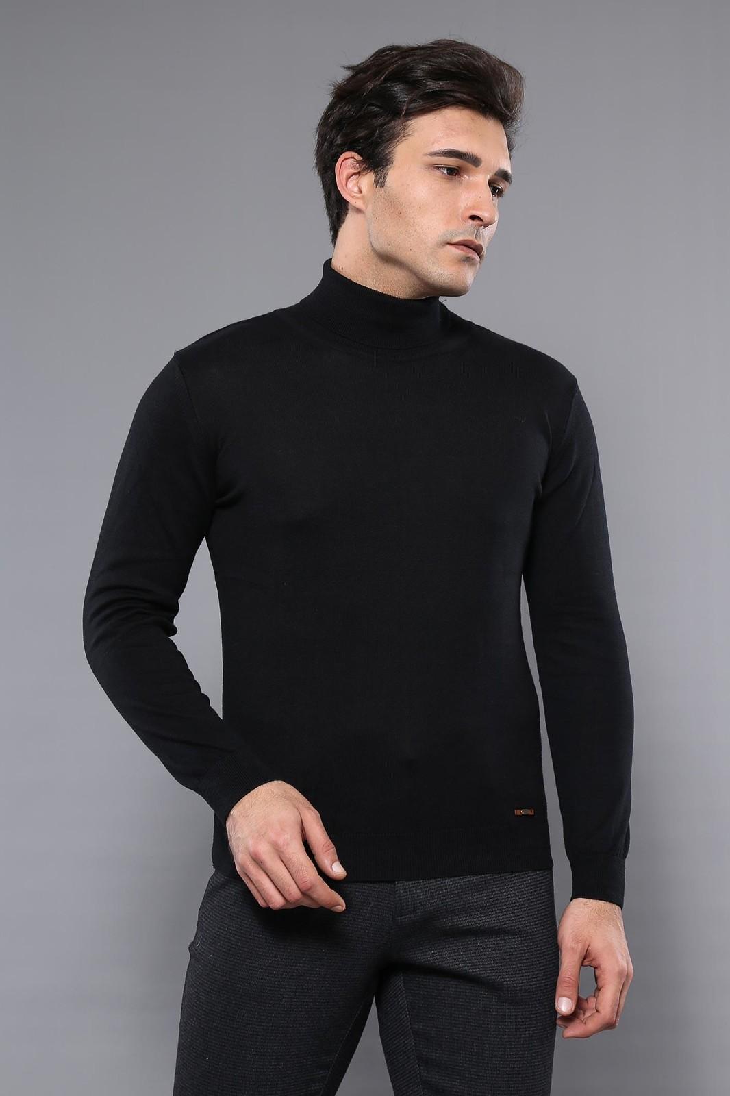 Men's Turtleneck Black Tricot Sweater