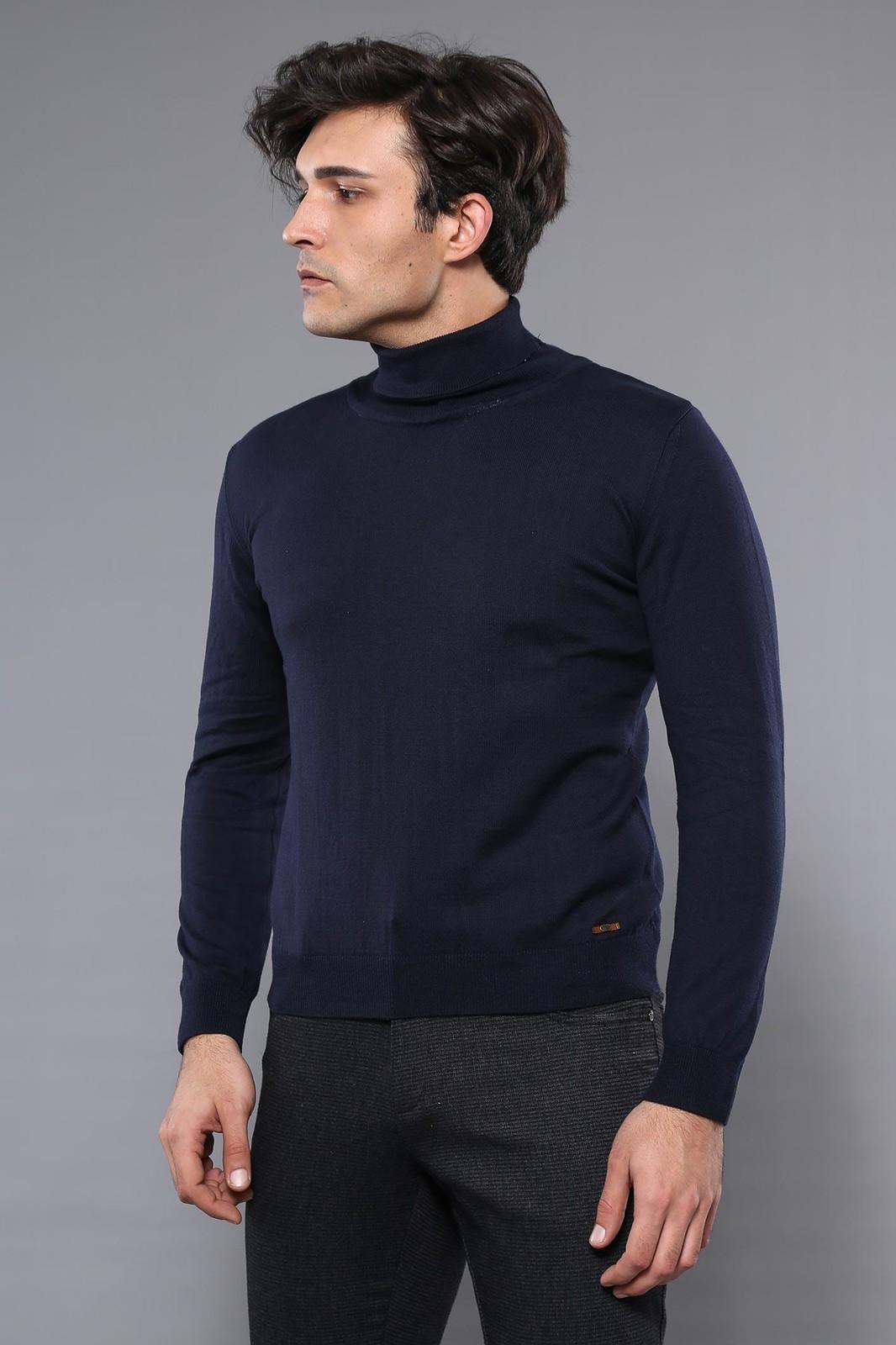 Men's Turtleneck Navy Blue Tricot Sweater