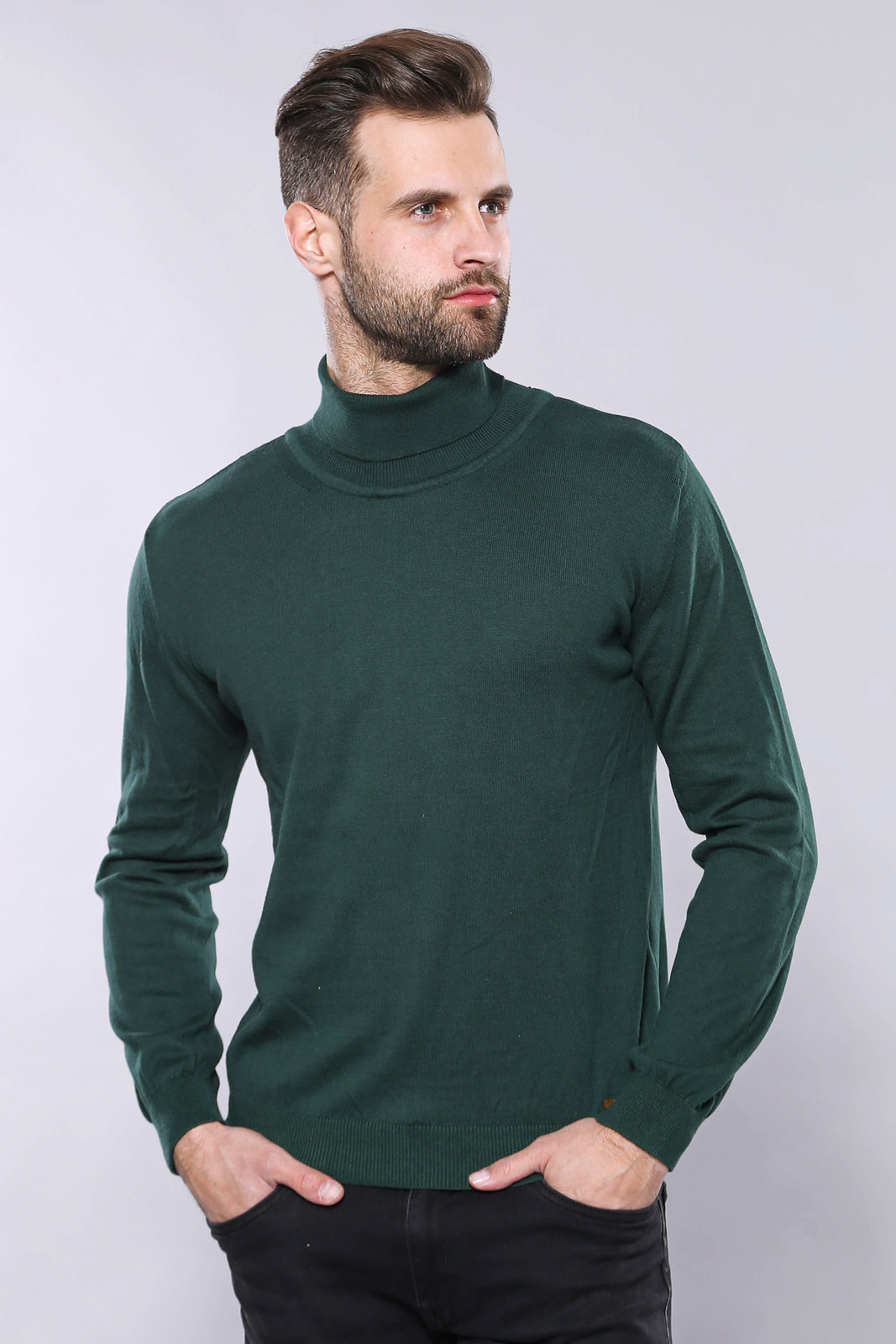 Men's Turtleneck Green Tricot Sweater