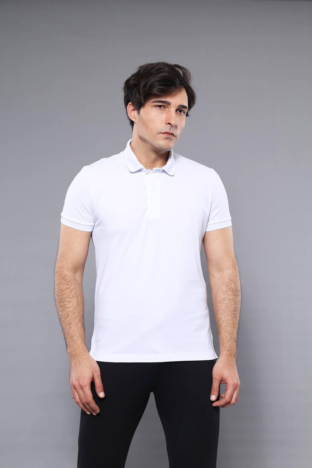 Men's Plain White Polo T-shirt