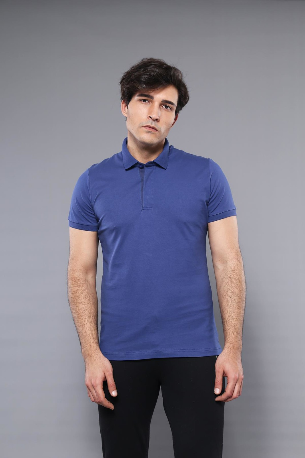 Men's Plain Dark Blue Polo T-shirt