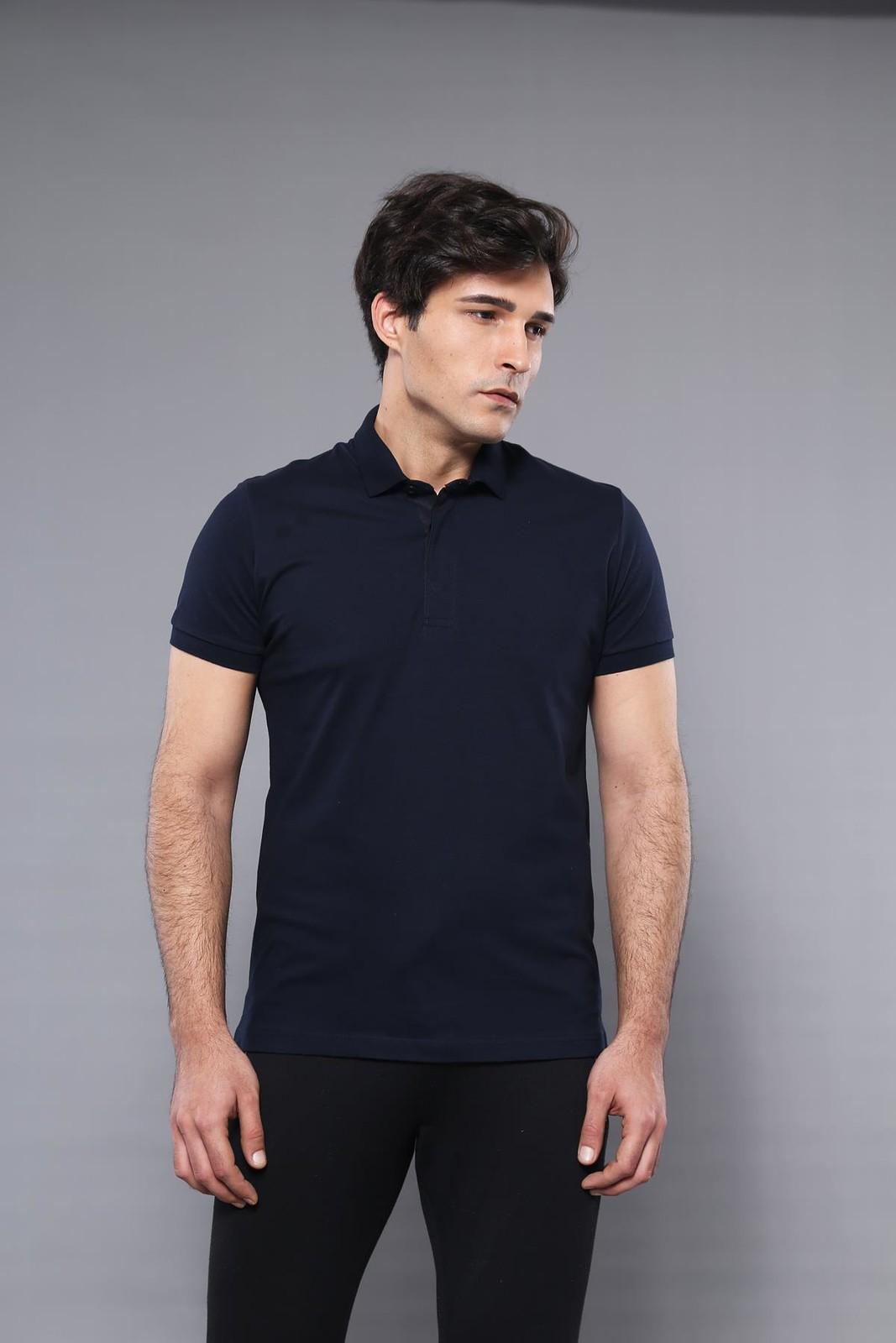 Men's Plain Navy Blue Polo T-shirt