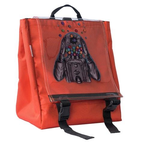 حقيبة ظهر بغطاء شفاف وطبعة
