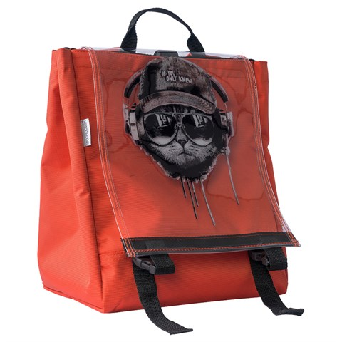 حقيبة ظهر برتقالي بطبعة قطة للجنسين