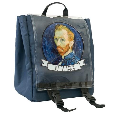 حقيبة ظهر كحلي بغطاء شفاف وطبعة Let it Gogh للجنسين