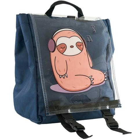 حقيبة ظهر كحلي بطبعة وغطاء شفاف للجنسين