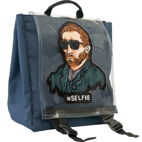 حقيبة ظهر كحلي بطبعة سيلفي للجنسين