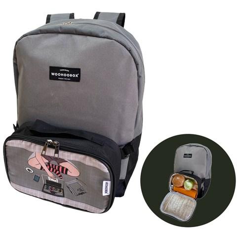 حقيبة ظهر بطبعة مع صندوق غداء