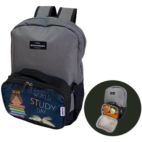 حقيبة ظهر بطبعة شعار مع صندوق غداء