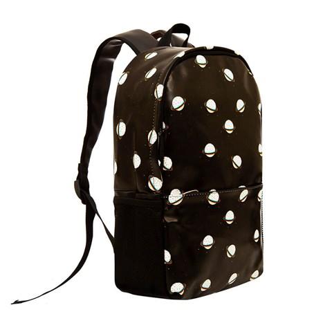 حقيبة ظهر جلد سوداء مزخرفة للجنسين