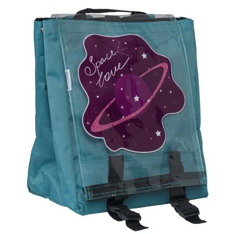 حقيبة ظهر تركواز بغطاء شفاف وطبعة Space Love للجنسين