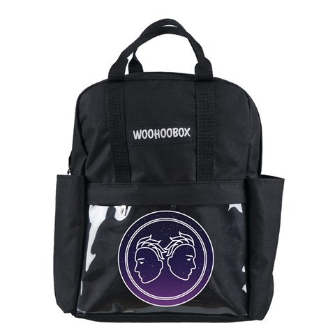 حقيبة ظهر سوداء بجيوب شفافة