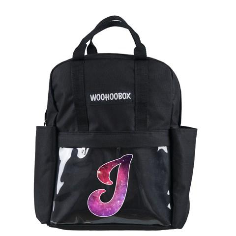 حقيبة ظهر سوداء بجيوب شفافة بتصميم حرف J مزخرفة بتصميم مجرة