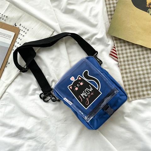 حقيبة كروس بودي كحلي بحمالات وغطاء شفاف وطبعة مواء
