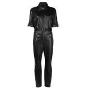 Half leather jumpsuit