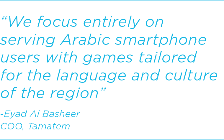 We focus entirely on serving Arabic smartphone users with games tailored 