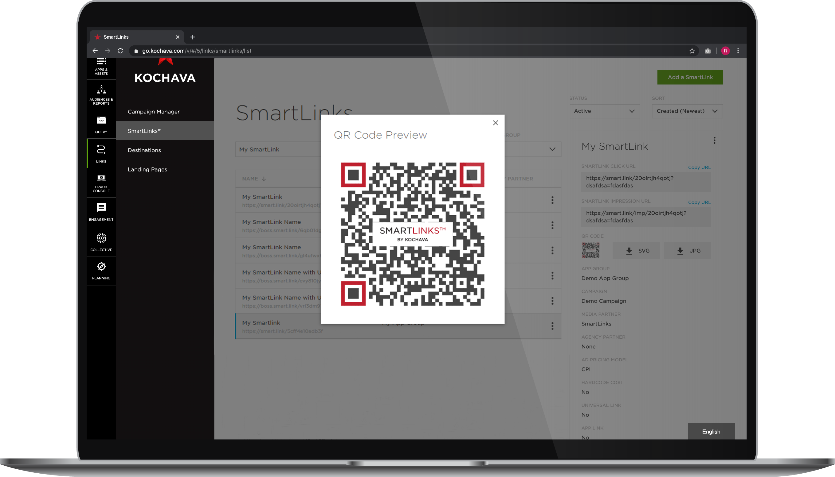 QR codes for deep linking