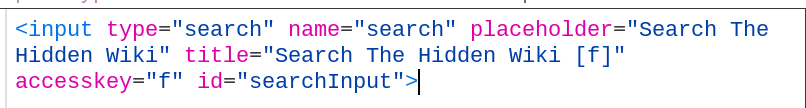 Hidden Wiki search input source code