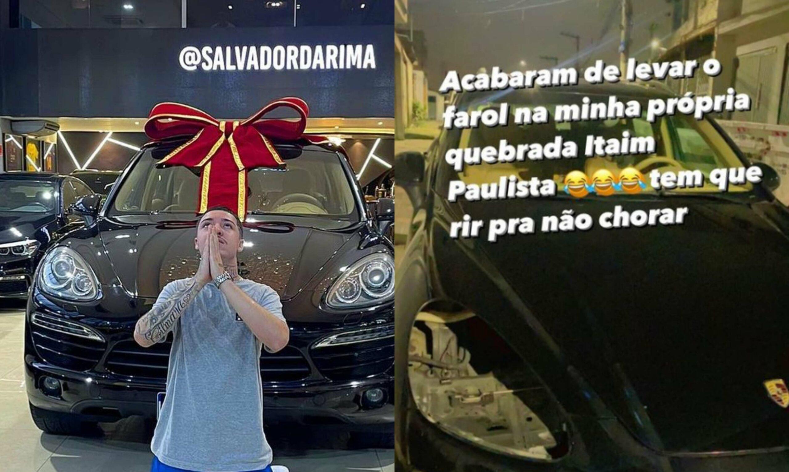 Salvador da Rima tem farol da Porsche Cayenne roubado