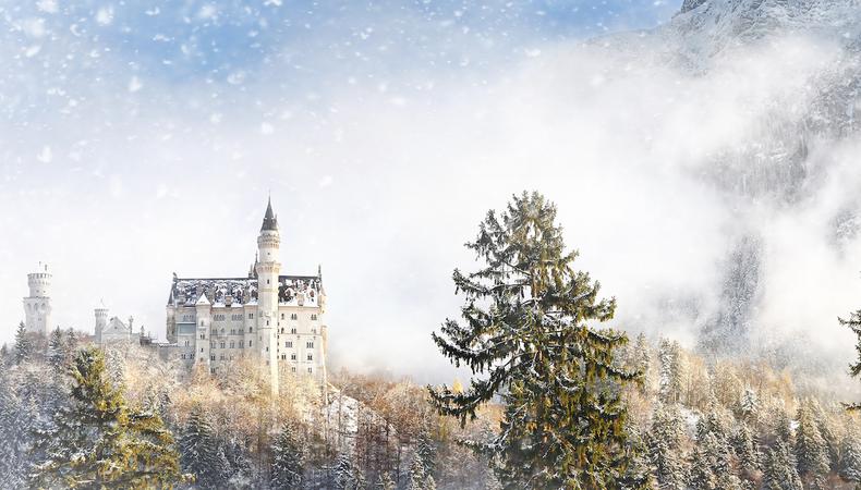 雪景色のノイシュバンシュタイン城に行ってみたい!
