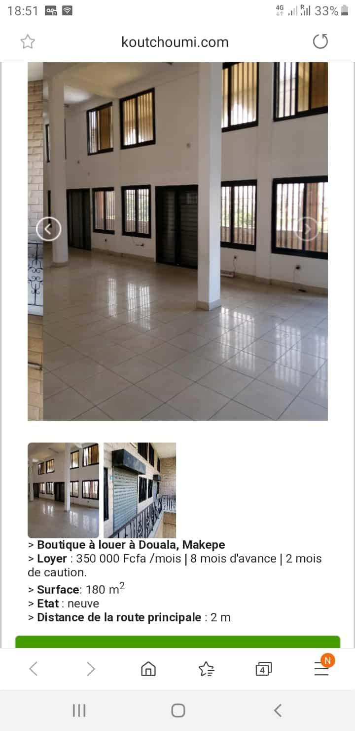 Boutique à louer à Douala, Makepe,  - 200 m2 - 350 000 FCFA