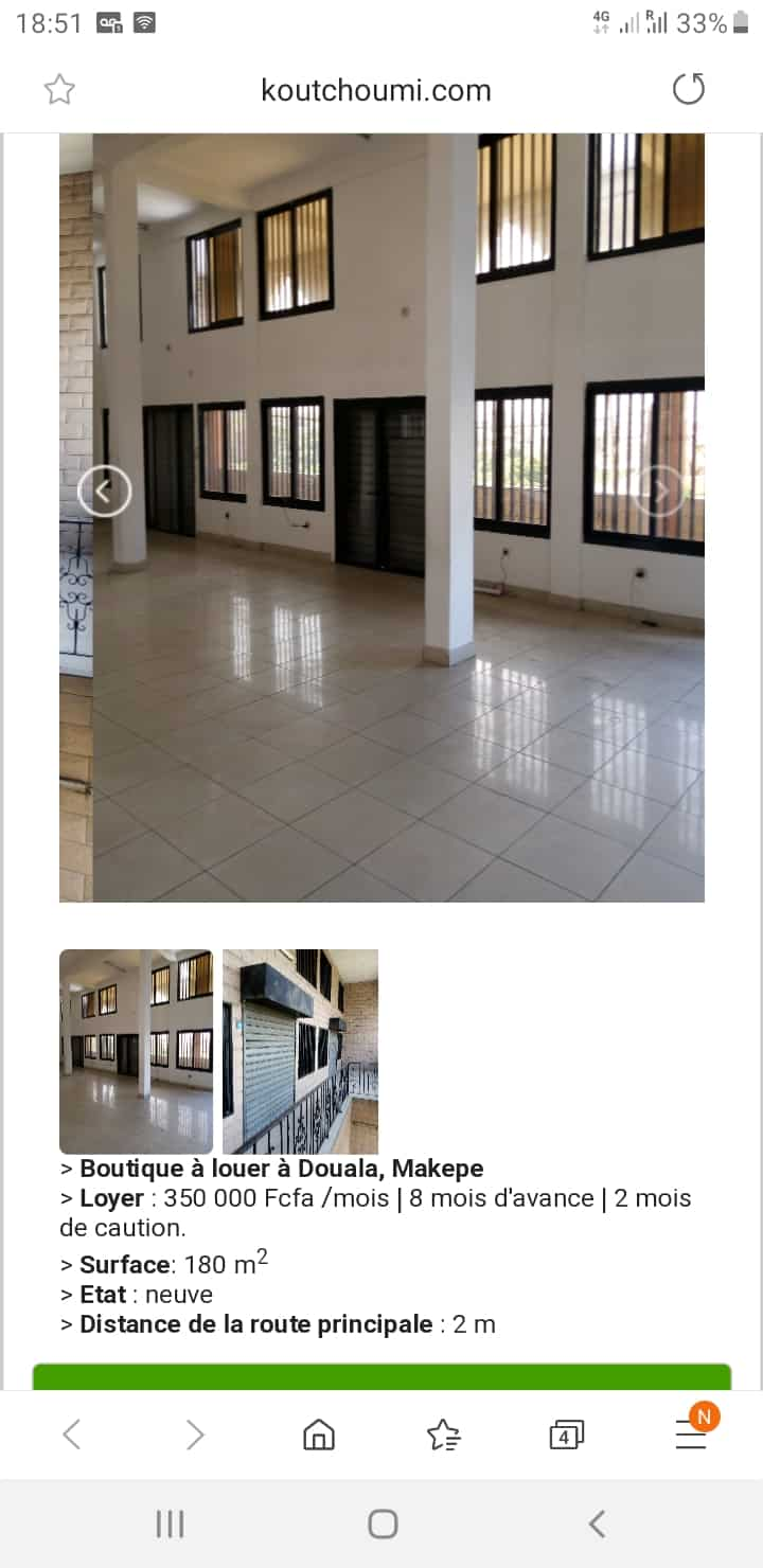 Shop to rent at Douala, Makepe,  - 200 m2 - 350 000 FCFA