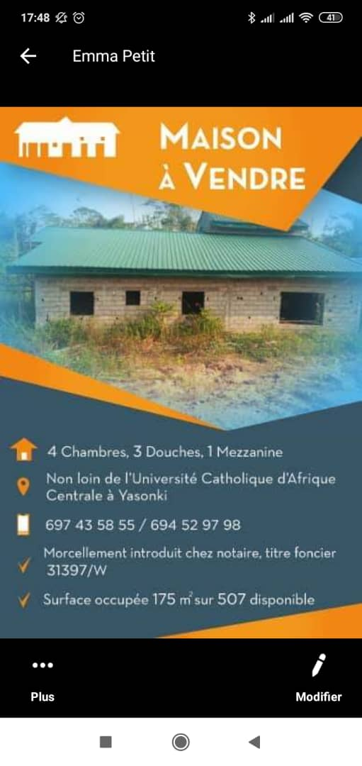 House (Villa) for sale - Douala, Yassa, A coté de l'université catholique d'Afrique Centrale - 1 living room(s), 4 bedroom(s), 3 bathroom(s) - 8 000 000 FCFA / month