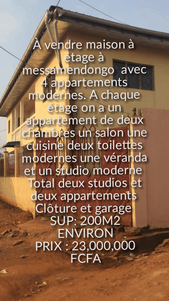House (Villa) for sale - Yaoundé, Odza, Immeuble d'appartements+ studios à vendre à Yaoundé odza - 1 living room(s), 3 bedroom(s), 2 bathroom(s) - 23 000 000 FCFA / month