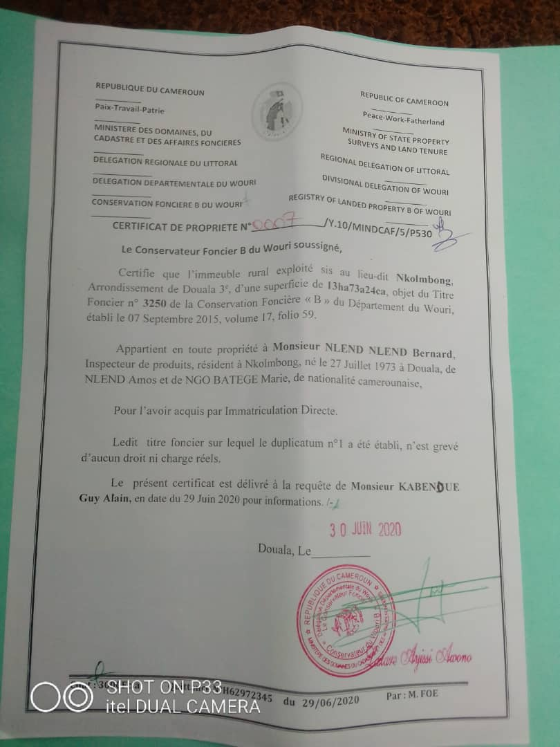 Land for sale at Douala, Bonamoussadi, Mbangue - 327 m2 - 13 080 000 FCFA