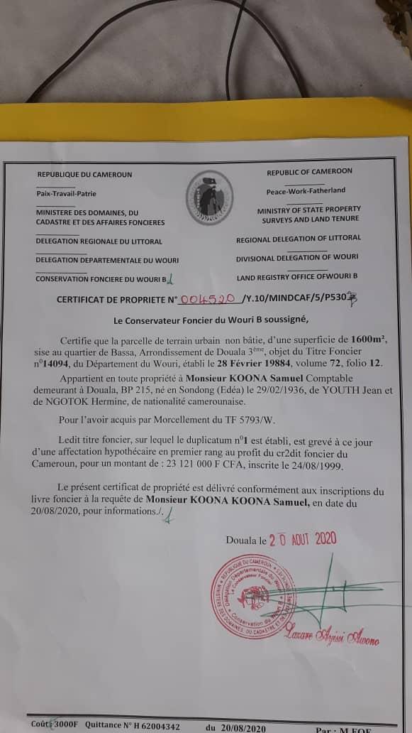 Land for sale at Douala, Beedi, Terrains viabilisé à vendre Douala BEEDI - 1600 m2 - 72 000 000 FCFA