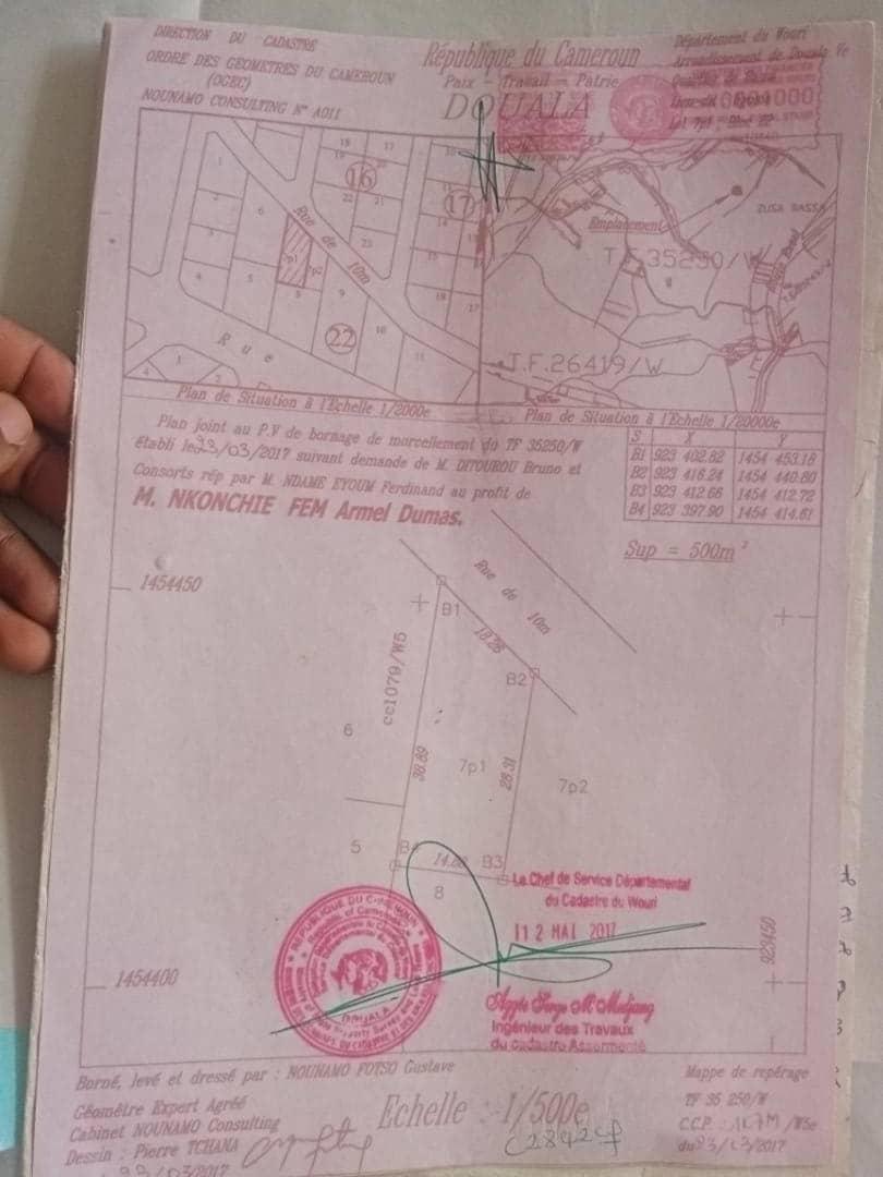 Land for sale at Douala, PK 19, Ver gendarmerie - 500 m2 - 9 000 000 FCFA