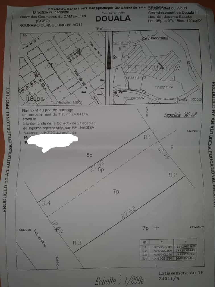 Land for sale at Douala, Japoma, 150m du stade - 345 m2 - 13 800 000 FCFA