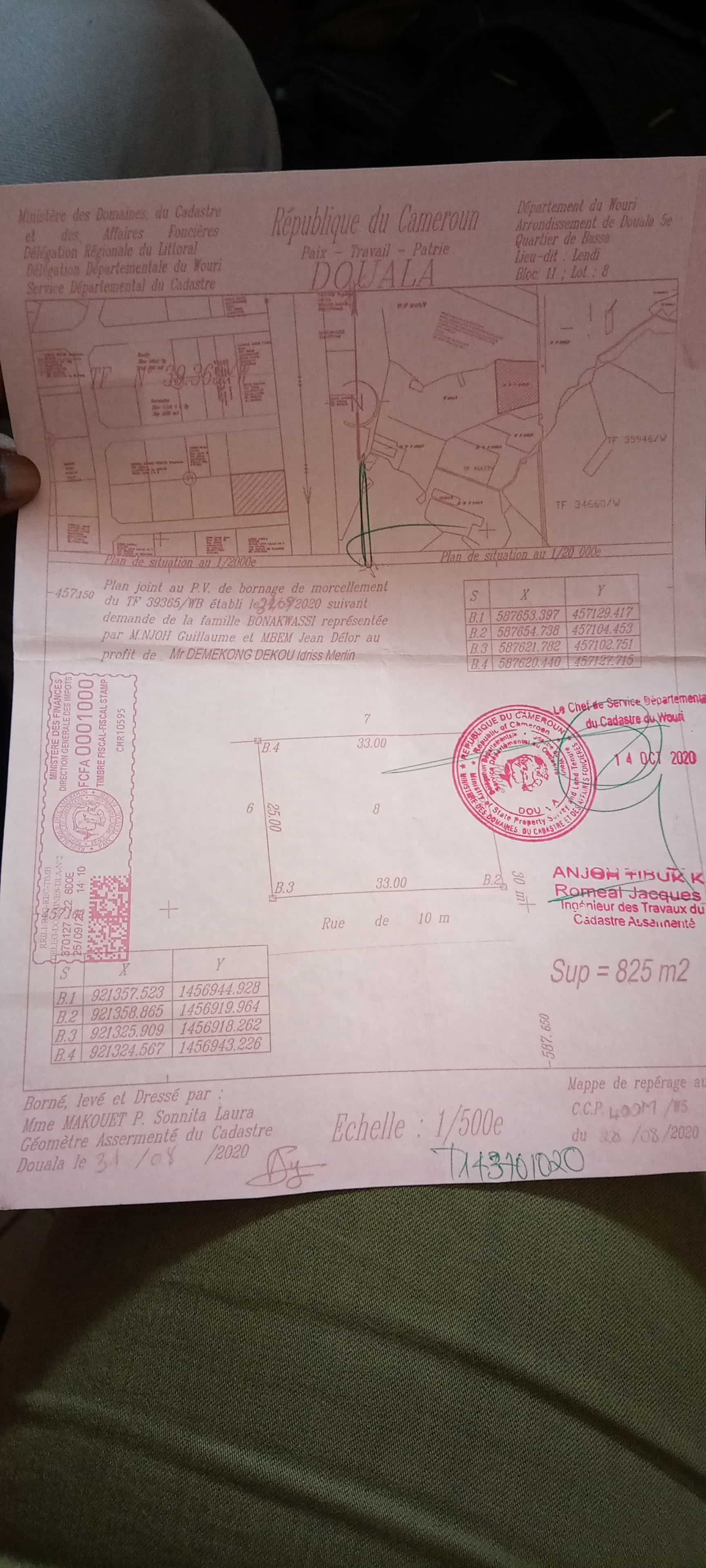 Land for sale at Douala, Lendi, Ver le quartier général - 200 m2 - 3 000 000 FCFA