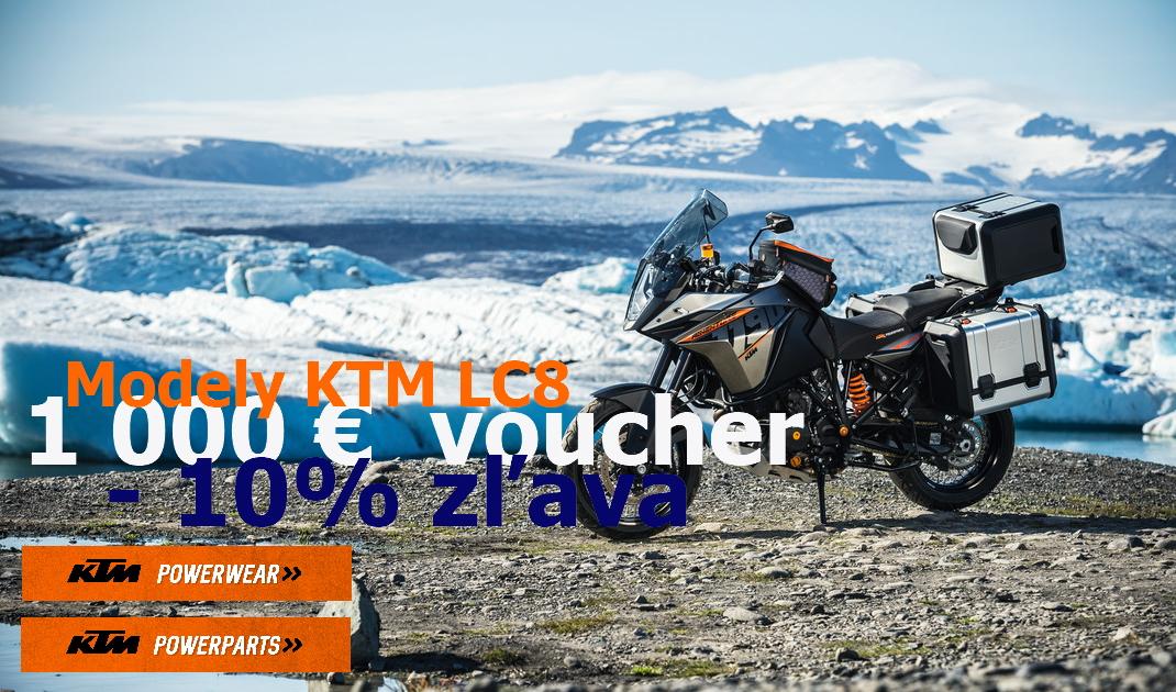 Kúpte su KTM Adventure, SuperAdventure alebo SuperDuke s 10%žľavou a k tomu získate zľavu 1000€ na doplnky a oblečenie KTM