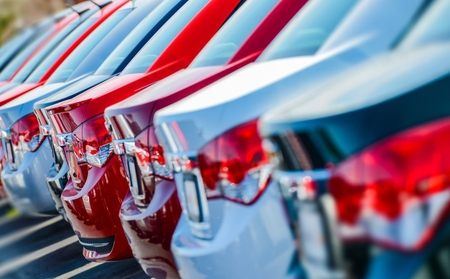 Row of cars at dealership