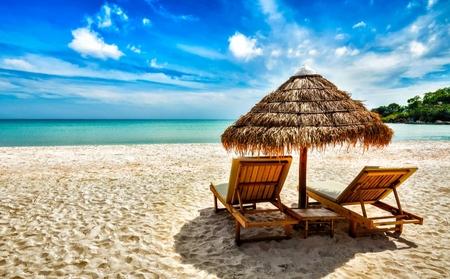 Sun loungers facing the ocean on a sandy beach.