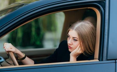 woman in traffic jam